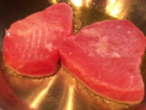 Pan Seared Ahi Tuna with Ginger Sauce