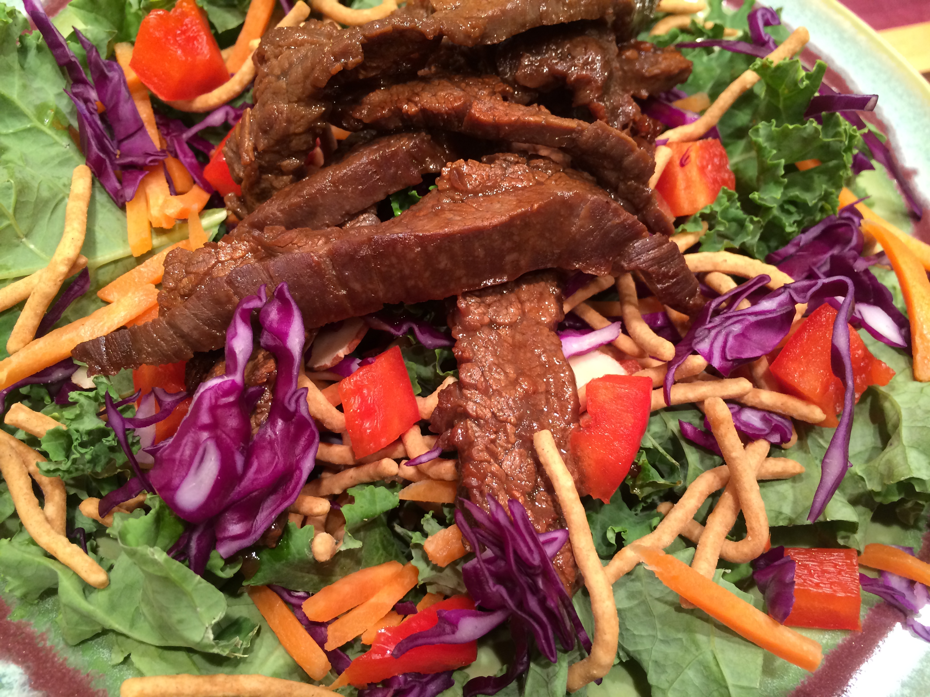 Asian Salad with Marinated Beef Flank Steak