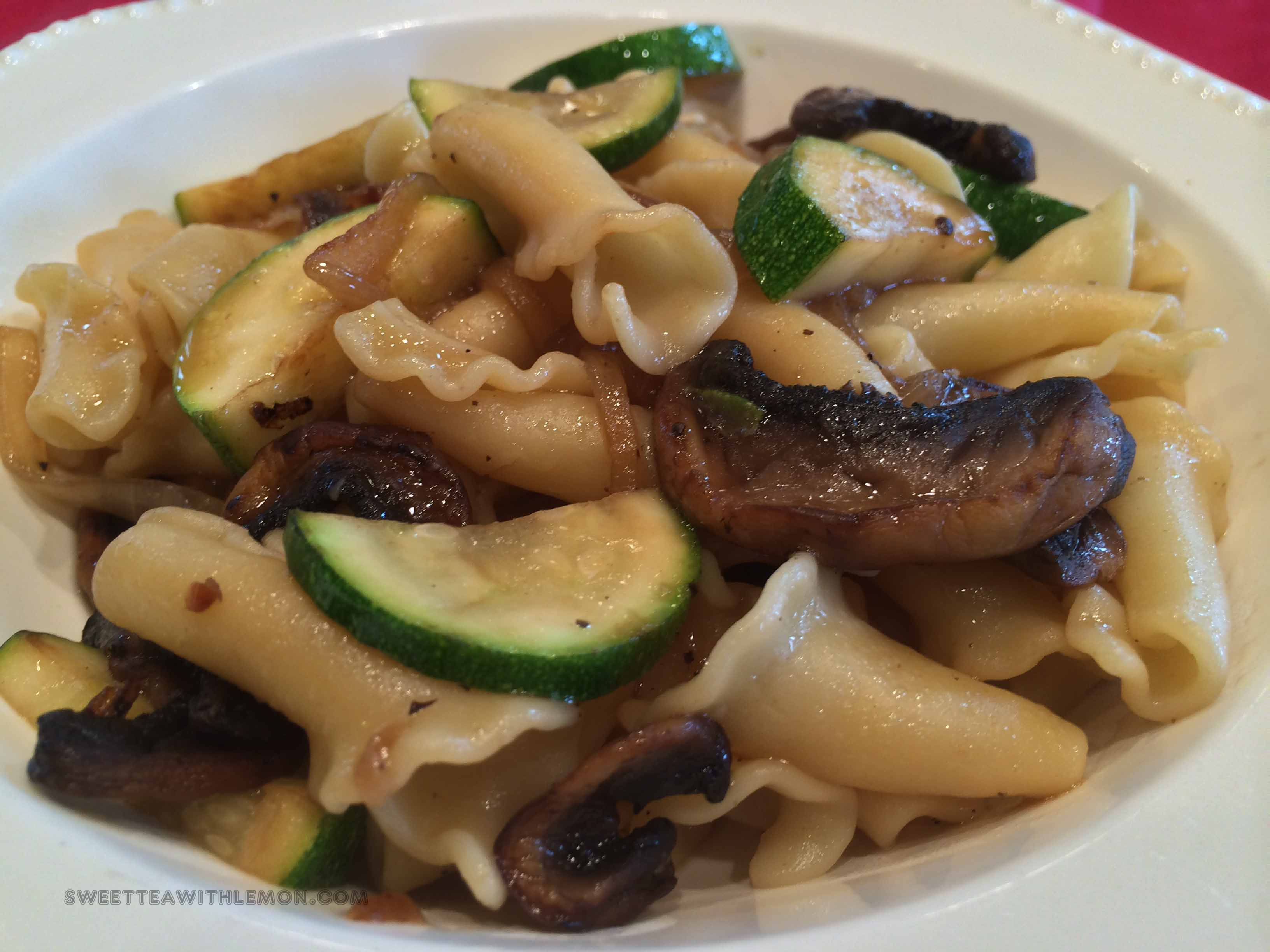 Campanelle Pasta with Zucchini and Mushrooms